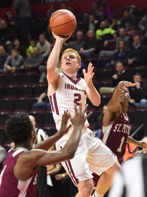 Don Bosco #2 Mike Concannon gets an open look during the North Non-Public A boys basketball final at the Rutgers Athletic Center in Piscataway on Thursday, March 8, 2018. Don Bosco won in double overtime.