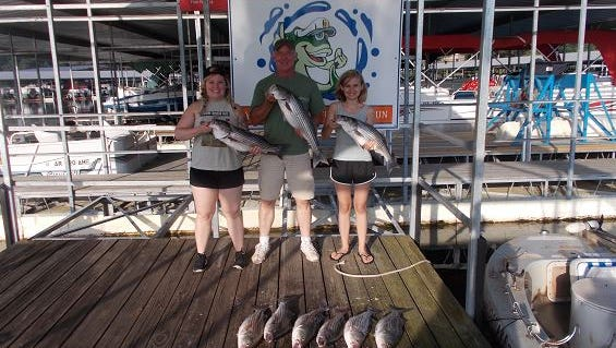 Jim tooks his daughters on their first striper fishing trip with Tom Reynolds.