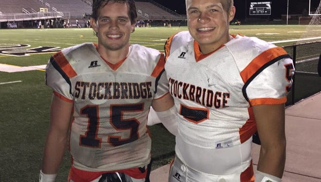 Stockbridge's Kolby Canfield, right, and Mason Gee-Montgomery, left, have connected for eight touchdowns in three weeks for the Panthers.