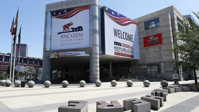 Exterior view of preparations at the Quicken Loans Arena for the 2016 Republican National Convention.