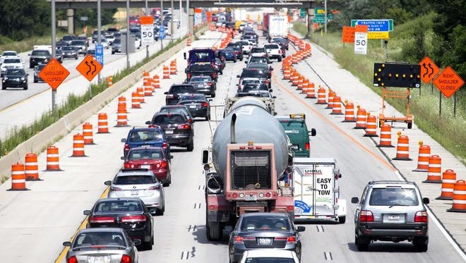 Eastbound traffic on I- 94 near the S. Elm Grove Road bridge backs up due to construction along the Zoo Interchange.