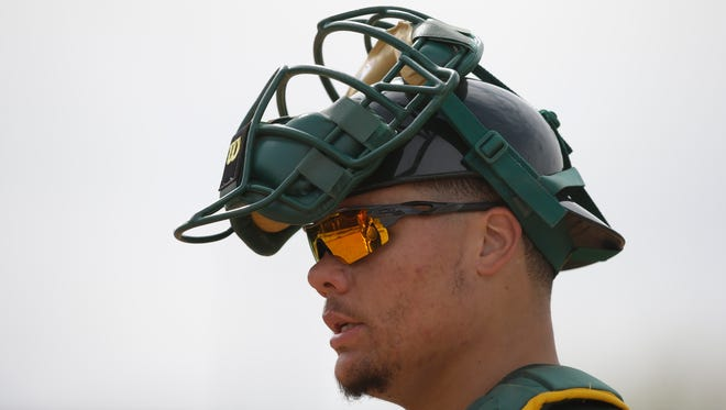 Bruce Maxwell, shown during spring training in Mesa in 2015, was arrested Saturday in Scottsdale.