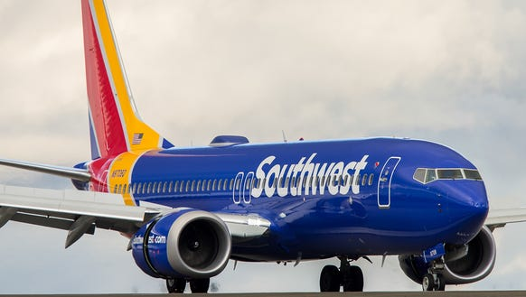A Southwest Airlines Boeing 737 Max 8 jet lands at