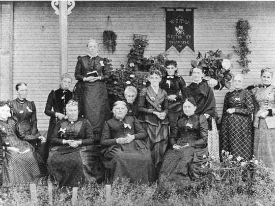 Groups like the Women's Christian Temperance Union worked long and hard to abolish alcohol consumption and sale. This group is from Weston in 1884.