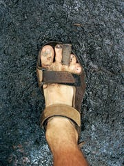 Michael George's blistered, damaged right foot near the end of his 35-day, 500-mile walk in 2012