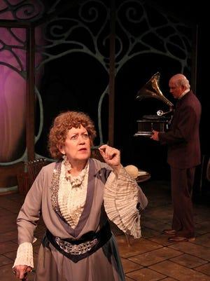 """Karen Sheridan and John Lepard as Sarah Bernhardt and her secretary Georges Pitou in Williamston Theatre's """"Memoir."""""""