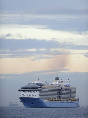 Royal Caribbean's latest cruise liner 'Anthem Of The Seas', the third largest ship in the world, arrives at the port of Bilbao during its maiden voyage, on April 26, 2015. The ship is cutting short another voyage this week. AFP PHOTO/ ANDER GILLENEA