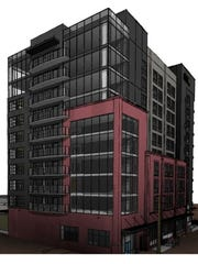 Another view of the dual-branded hotel planned at 500 Fifth Ave. S. in SoBro.