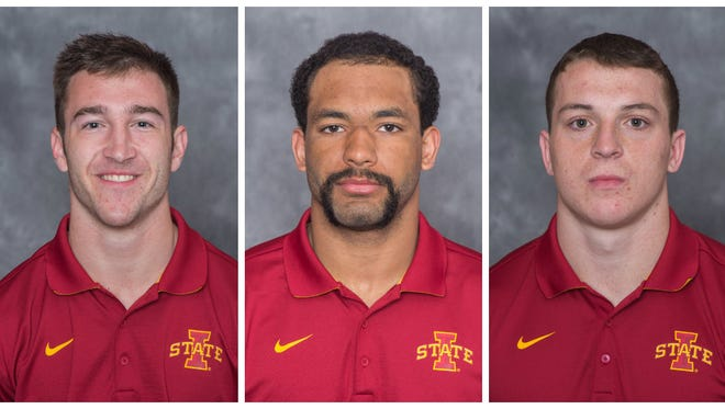 From left, Iowa State football players Josh Jahlas, Anthony Lazard and Jack Spreen helped save a woman from a sinking car in South Padre Island, Texas, earlier this month.