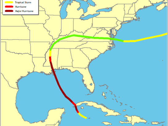 Track of Hurricane Camille (Source: National Hurricane Center)