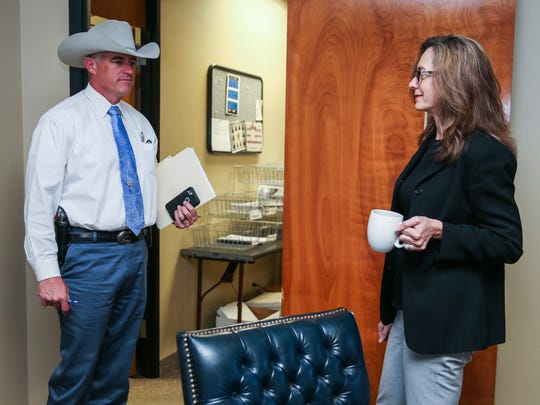 Texas Ranger Nick Hanna chats with District Attorney