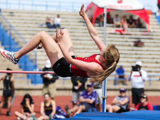 Sonora's Mary Kyle Johnson clears the high jump during
