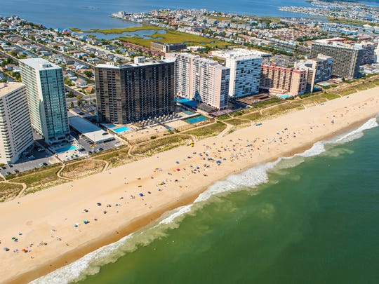 Aerial view of Ocean City, Maryland. Ocean City, MD is one of the most popular beach resorts on the East Coast and is considered one of the cleanest in the country.