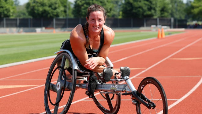 Paralympian Tatyana McFadden trains at the University of Illinois.