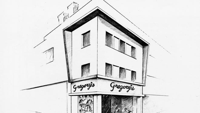 "The Gregory's Menswear storefront is seen in an image from the 1968 publication ""Greater York in Action."""