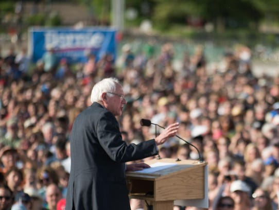 Sen. Bernie Sanders, I-Vt., speaks on May 26 in Burlington