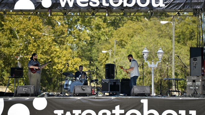 The rock band MCE performs at the Augusta Common during the 2016 Westobou Festival.
