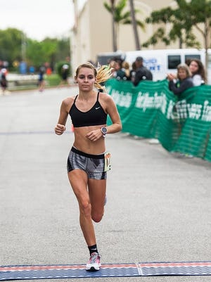 North Fort Myers High runner Kayla Easterly, running in her first 13.1-mile race, finished with women's winning time of 1:24:23.79 – fourth overall - in the Hooters Half Marathon on Sunday.