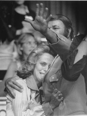 Nancy and Bobby Leonard react at the end of the July 1977 Save the Pacers Telethon.
