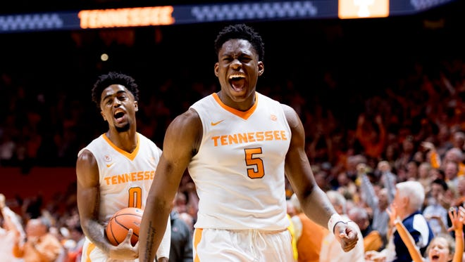 Tennessee forward Admiral Schofield (5) celebrates after defeating Georgia during a game between Tennessee and Georgia at Thompson-Boling Arena in Knoxville, Tennessee on Friday, March 2, 2018.