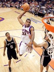 Phoenix Suns' Amare Stoudemire slam dunks the ball
