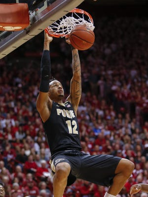 Purdue Boilermakers forward Vincent Edwards (12) dunks the ball during the game against the Indiana Hoosiers at Simon Skjodt Assembly Hall in Bloomington.