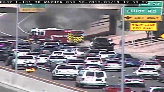 A vehicle fire on Loop 101 Sunday afternoon blocked the Elliot Road exit and caused traffic.