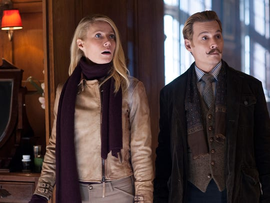 "Gywneth Paltrow and Johnny Depp star in the comedy mystery ""Mortdecai."""