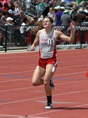 Sheridan's Anna Foster crosses the finish line in a meet record 10:34.3 to take first place in the 3200 meters during the Division II state track and field meet on Saturday at Ohio State's Jesse Owens Memorial Stadium. Foster, runner-up in the event in 2017, also broke school and personal records.