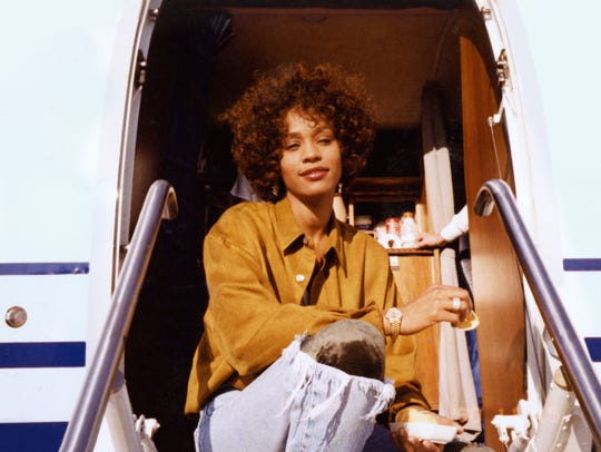 Whitney Houston is shown in an unguarded moment early