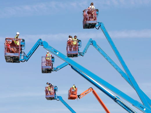 Families ride the lifts during Quarry Quest at Michels e559e958735b