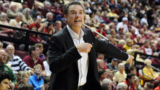 Feb 28, 2015; Tallahassee, FL, USA; Louisville Cardinals head coach Rick Pitino during the game against the Florida State Seminoles at the Donald L. Tucker Center. Mandatory Credit: Melina Vastola-USA TODAY Sports