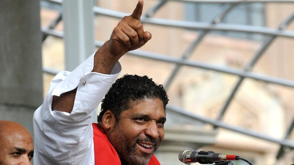 The Rev. William Barber II speaks at Mountain Moral Monday, held in Pack Square in August.