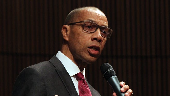 Former NYC schools chancellor Dennis Walcott will lead a three-person monitor team in East Ramapo. He speaks during a press conference at Rockland Community College  in Suffern Aug. 13, 2015.