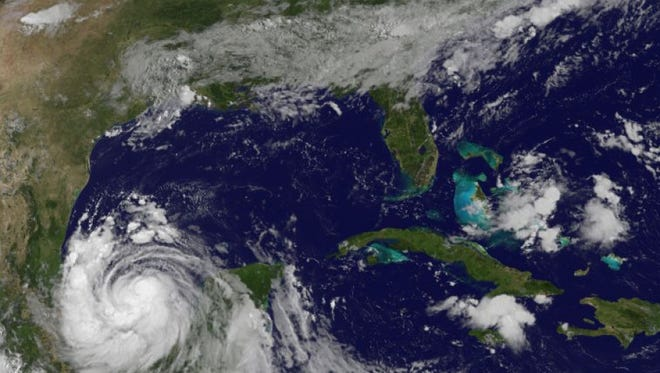 Tropical Storm Franklin spins in the Bay of Campeche on Aug. 9, 2017.