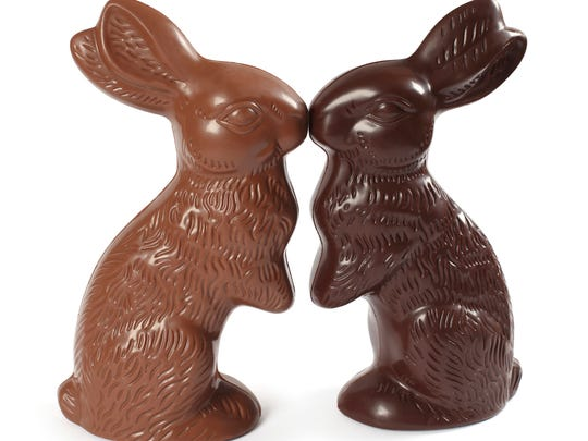 Chocolate rabbits kissing