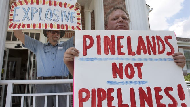 Protestors attended a July hearing in Manchester to criticize a proposed New Jersey Natural Gas pipeline.