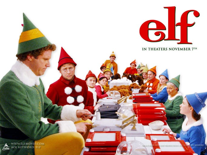 The movie Elf promoted Etch A Sketch in movie posters