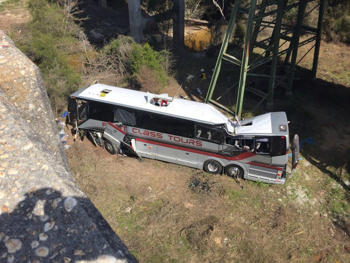 Bus accident on I-10 westbound in Alabama.