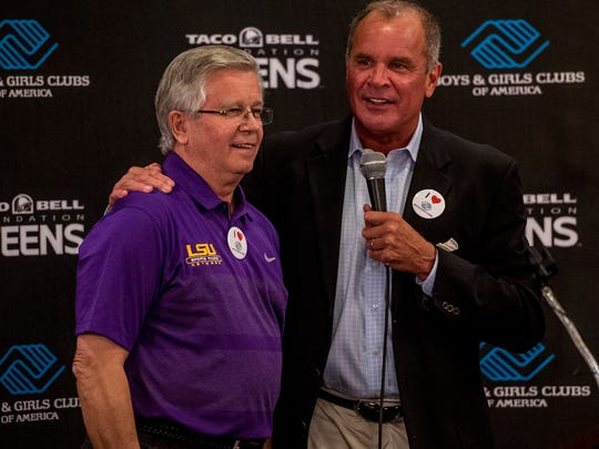 Sports broadcaster Jordy Hultberg, right, interviews longtime LSU Sports Radio announcer Jim Hawthorne during the 2015 Football Kickoff hosted by 103.7 The Game and the LHC Group at the Petroleum Club in Lafayette, LA, Tuesday, Aug. 18, 2015. The event was held as a benefit for the Boys & Girls Club of America.