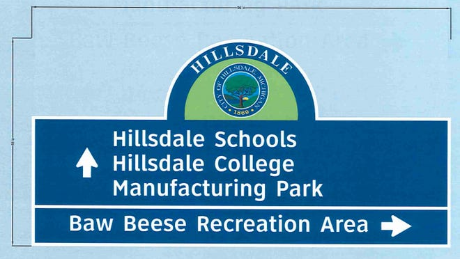 A rendering of the proposed signage to be displayed throughout Hillsdale.