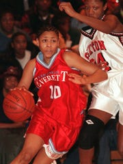 Candice Jackson (10) was a standout at Everett High before going on to play at MSU.