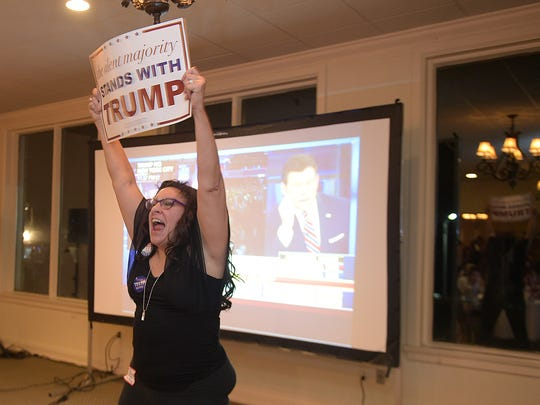 Donald Trump supporter Jessie Diconti cheers at the Williamson County Republican watch party on election night at Old Natchez Country Club in Franklin.