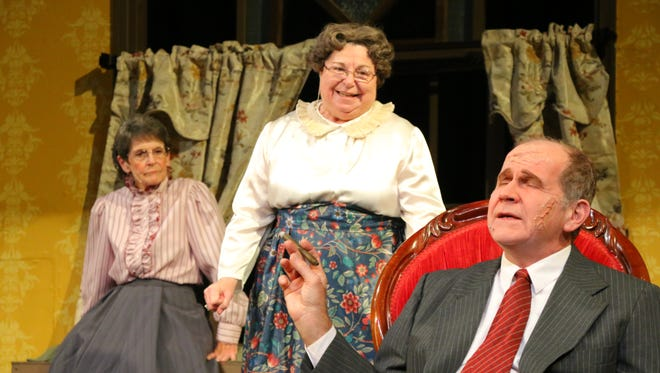 """From left to right, Marsha Howard, Nancy Frumen and Michael Vayvada as Martha, Abby and Jonathan Brewster in the Waynesboro Players' production of """"Arsenic and Old Lace."""""""