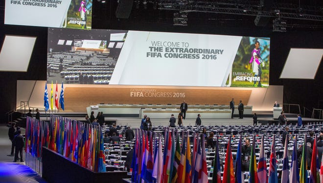 A general view prior to the Extraordinary FIFA Congress 2016 at the Hallenstadion in Zurich, Switzerland.