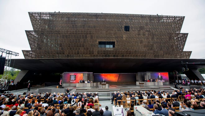 President Barack Obama speaks at the opening of the Smithsonian's National Museum of African American History and Culture in Washington, DC, USA, 24 September 2016.