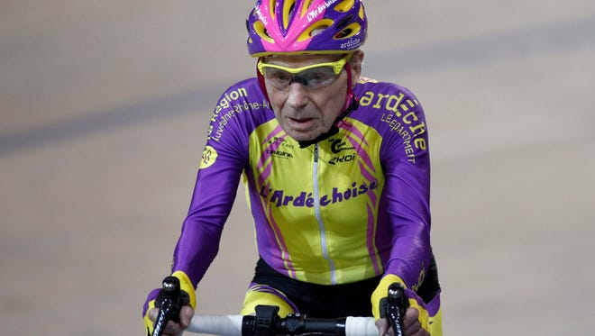 The 105-year-old Frenchman set a world record in the 105-plus age category by riding 22.547 kilometers in one hour.