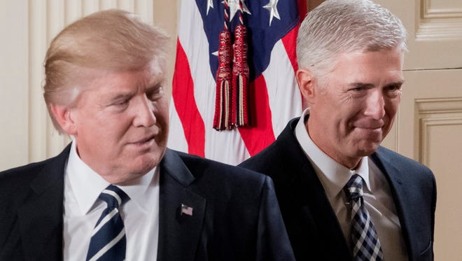 President Trump and Neil Gorsuch, his first nominee for the Supreme Court.
