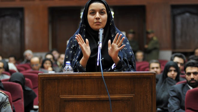 Iranian Reyhaneh Jabbari is shown on trial in Tehran on Dec. 15, 2008.