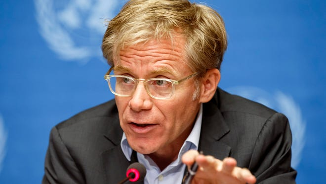 Bruce Aylward, assistant director-general of the World Health Organization, informs the media on the response on global aid pledged to fight the Ebola outbreak in West Africa during a press conference at the European headquarters of the United Nations in Geneva.